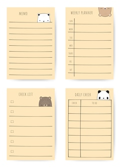 Ensemble de planificateur de notes de dessin animé mignon famille ours doodle