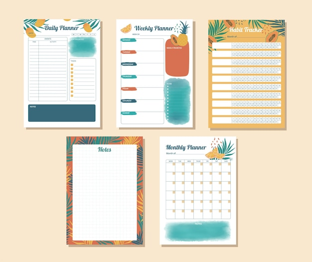 Ensemble de planificateur quotidien hebdomadaire mensuel et suivi des habitudes avec illustration tropicale à l'aquarelle