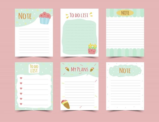 Ensemble de planificateurs d'agenda et de faire des listes. planificateurs, listes de contrôle. isolé. illustration.