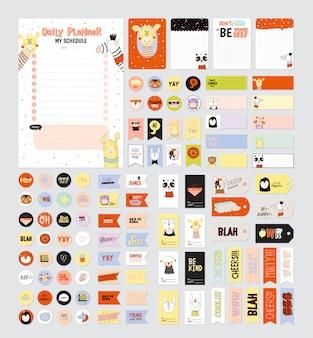 Ensemble de planificateurs hebdomadaires et de faire des listes avec des illustrations d'animaux mignons et des lettres à la mode. modèle