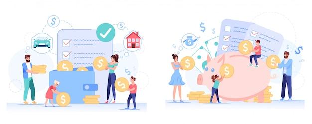 Ensemble de planification de l'épargne budgétaire familiale anti-crise