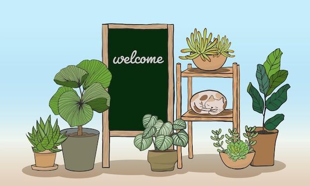 Ensemble de plantes en pot avec tableau noir pour écrire des messages