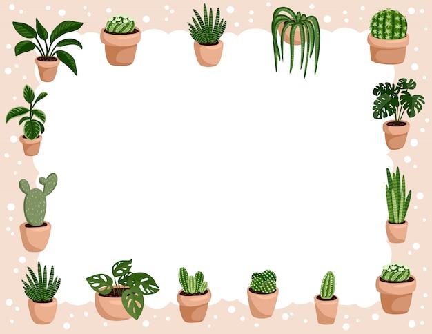 Ensemble de plantes succulentes en pot hygge. collection de plantes de style scandinave confortable lagom