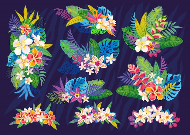 Ensemble de plantes tropicales abstraites, fleurs, feuilles. éléments de design. jungle florale colorée de la faune. fond d'art forêt tropicale. illustration