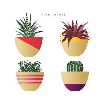 Ensemble de plantes en vecteur de pots