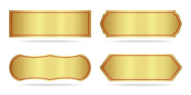 Ensemble de plaques d'identification en or métallisé