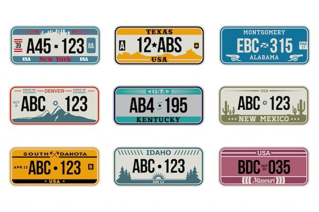 Ensemble de plaques d'immatriculation de voiture usa