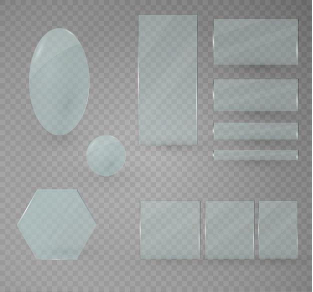 Ensemble de plaques de verre. bannières en verre sur un fond transparent.