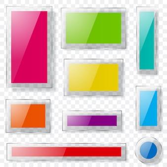 Ensemble de plaques de verre de différentes couleurs avec des bords transparents et avec des ombres. transparence uniquement en format vectoriel