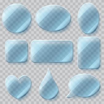 Ensemble de plaques de verre transparent de différentes formes dans des couleurs bleu clair.