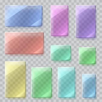 Ensemble de plaques de verre transparent de différentes formes de différentes couleurs. transparence uniquement en fichier vectoriel
