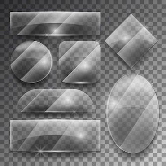 Ensemble de plaques de verre transparent de vecteur. cadre brillant brillant, illustration de forme vide