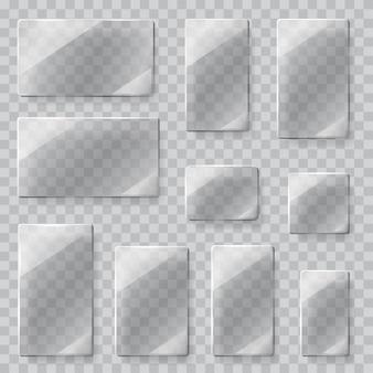 Ensemble de plaques de verre transparentes de différentes formes en couleurs grises.