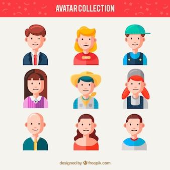 Ensemble plat d'avatars des travailleurs