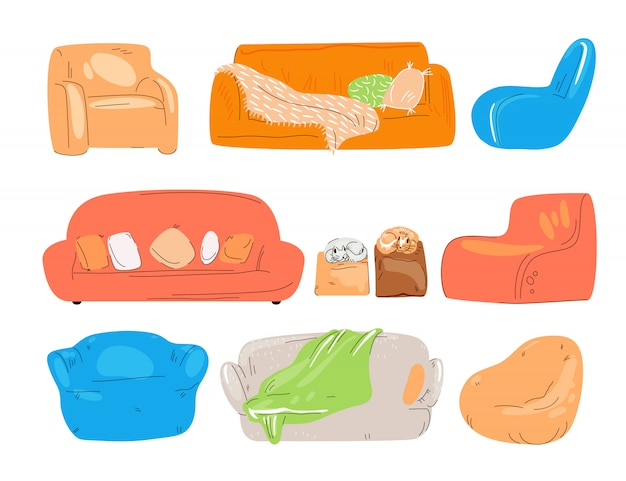 Ensemble plat de canapé confortable, divan, canapé, chaises, tabouret rembourré et fauteuils avec chat, oreillers et couverture. maison confortable et zone salon pour bureau, collection colorée isolée sur blanc.