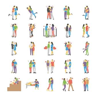 Ensemble plat de couples romantiques
