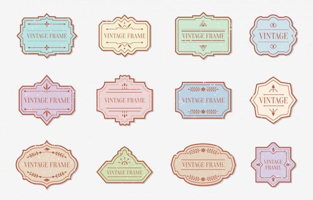 Ensemble plat d'éléments de couleur rétro étiquettes vintage couleur grunge. modèle de texte de cadre autocollant