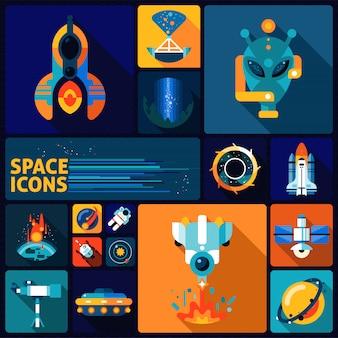 Ensemble plat d'éléments spatiaux