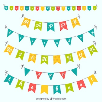 Ensemble plat de guirlandes colorées pour les anniversaires