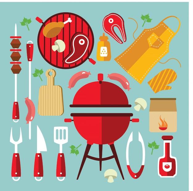Ensemble plat d'icônes de barbecue