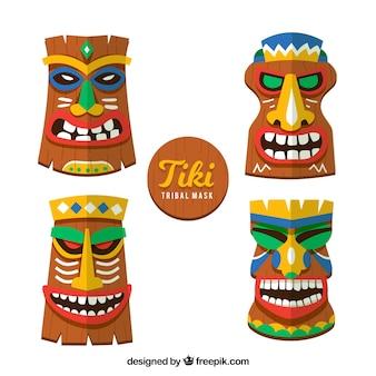 Ensemble plat de masques tiki colorés