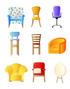 Ensemble plat de meubles de maison avec chaises, fauteuils, tabourets