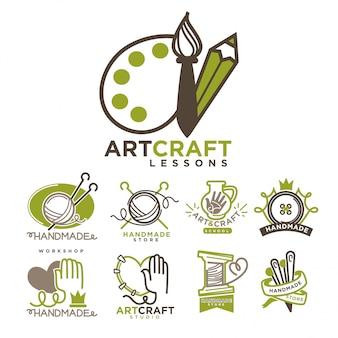 Ensemble plat de modèles de logo art et artisanat fait à la main.