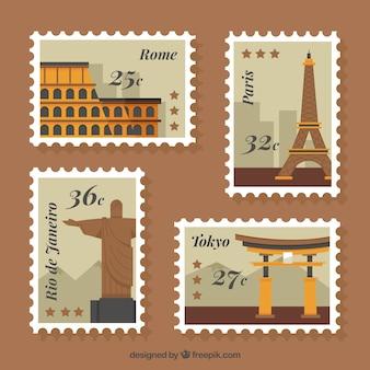 Ensemble plat de quatre timbres de villes