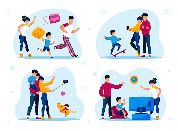 Ensemble plat de scènes de routines de parentalité heureuse