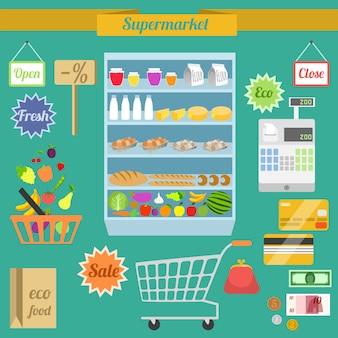 Ensemble plat de supermarché
