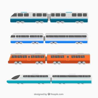 Ensemble plat de trains modernes