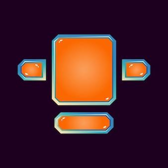 Ensemble de plateau d'interface utilisateur de jeu de gelée spatiale fantastique pour les éléments d'actif gui