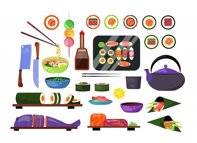 Ensemble de plats japonais