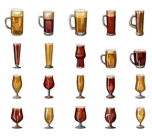 Ensemble de plein verre de bière avec de la mousse isolé sur fond blanc. collection de verres à alcool dessinés à la main.