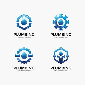 Ensemble de plomberie, modèle de conception de logo de l'eau.
