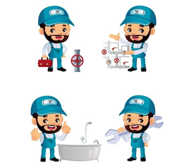 Ensemble de plombier avec des poses différentes