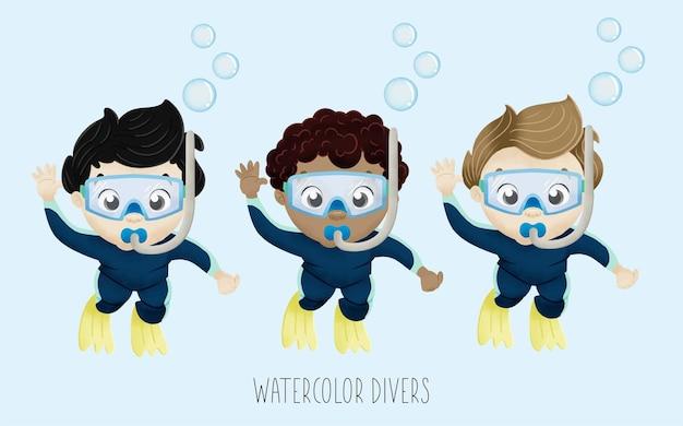 Ensemble De Plongeurs Aquarelle Vecteur Premium