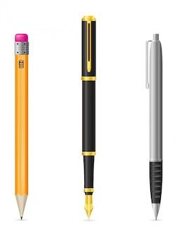 Ensemble de plume réaliste et illustration vectorielle crayon