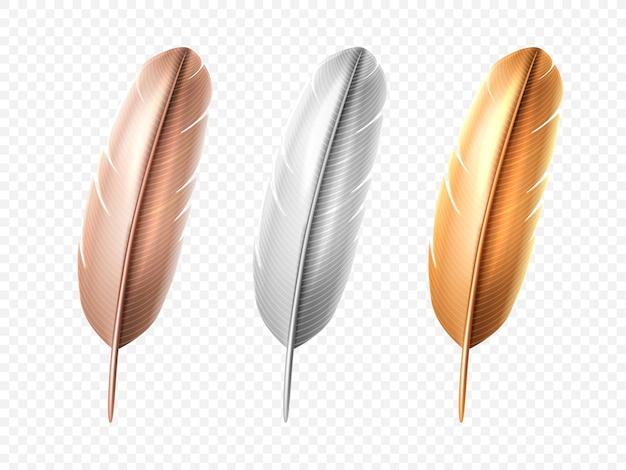 Ensemble de plume réaliste isolé blanc et bronze, oiseau doré