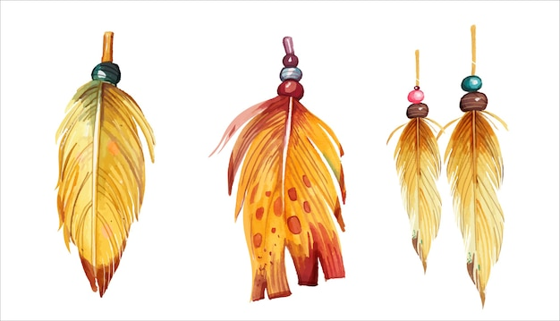 Ensemble de plumes aquarelle