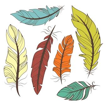 Ensemble de plumes colorées de vecteur dans un style rétro