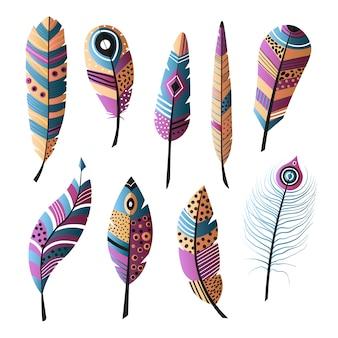 Ensemble de plumes d'oiseaux colorés ethniques, couleur moderne