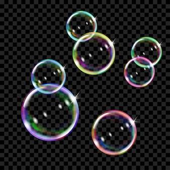 Ensemble de plusieurs bulles de savon de couleur translucide sur fond transparent. transparence uniquement en format vectoriel