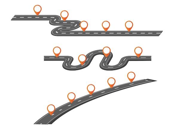 Ensemble de plusieurs carte routière avec beaucoup de pointeur