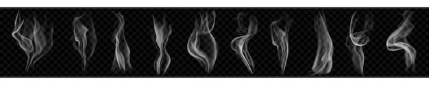 Ensemble de plusieurs fumées ou vapeur transparentes réalistes dans des couleurs blanches et grises, à utiliser sur fond sombre. transparence uniquement en format vectoriel