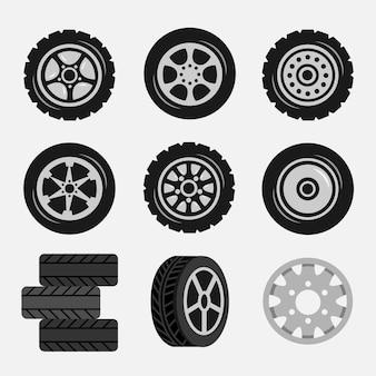 Ensemble de pneus de voiture et de jantes en alliage, traces de piste