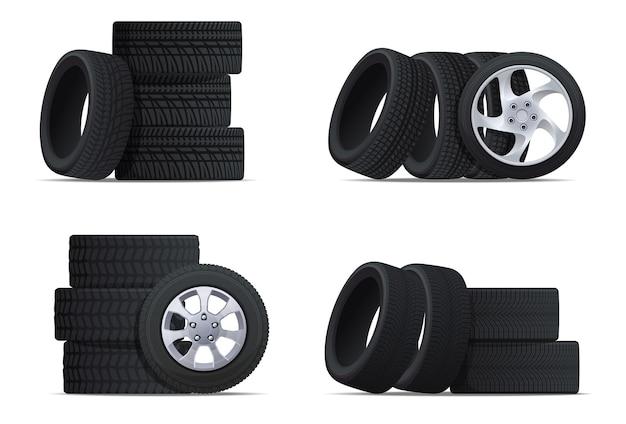Ensemble de pneus de voiture pneus d'été et d'hiver pour conduire dans différentes conditions météorologiques roues pour diff...
