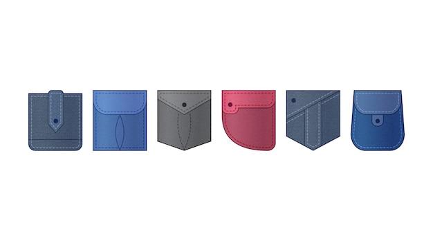 Ensemble de poches plaquées en denim, vêtements en jeans illustration de vêtement