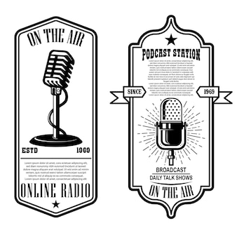 Ensemble de podcast vintage, flyers radio avec microphone