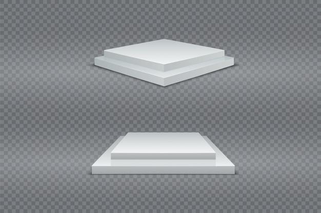 Ensemble de podium blanc. gagnant du piédestal carré en deux étapes 3d. lumière réaliste. produit publicitaire